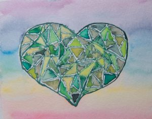 Grünes Chakra-Herz; steht für u.a. Liebe, Vertrauen, Trauer, Karma, Hingabe und Vergebung.